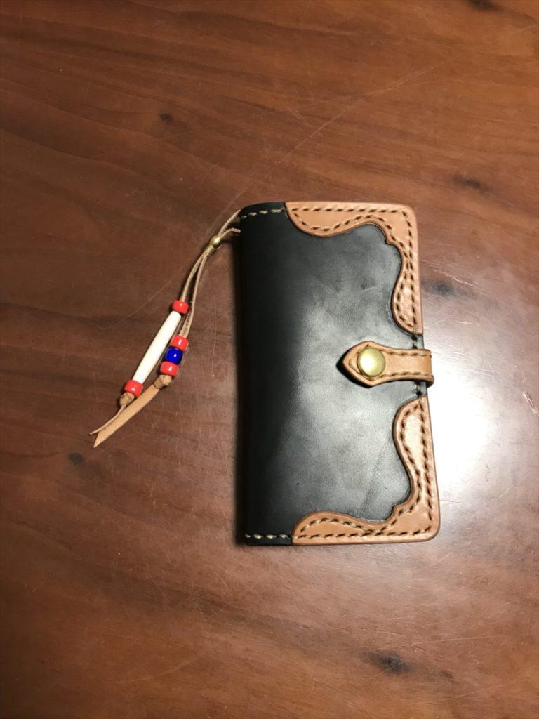 手帳型Iphoneケース|和乃革のレザークラフト作品事例
