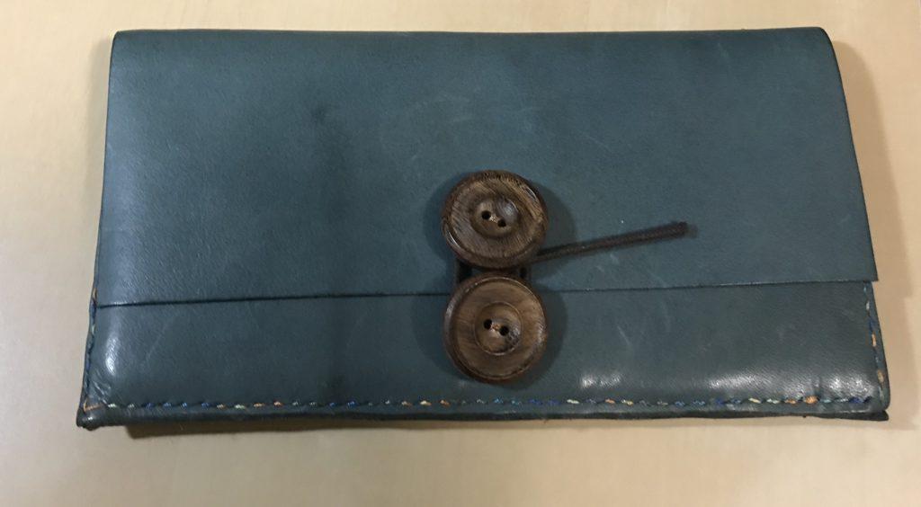 オイルレザー青によるかわいい長財布の作成|和乃革