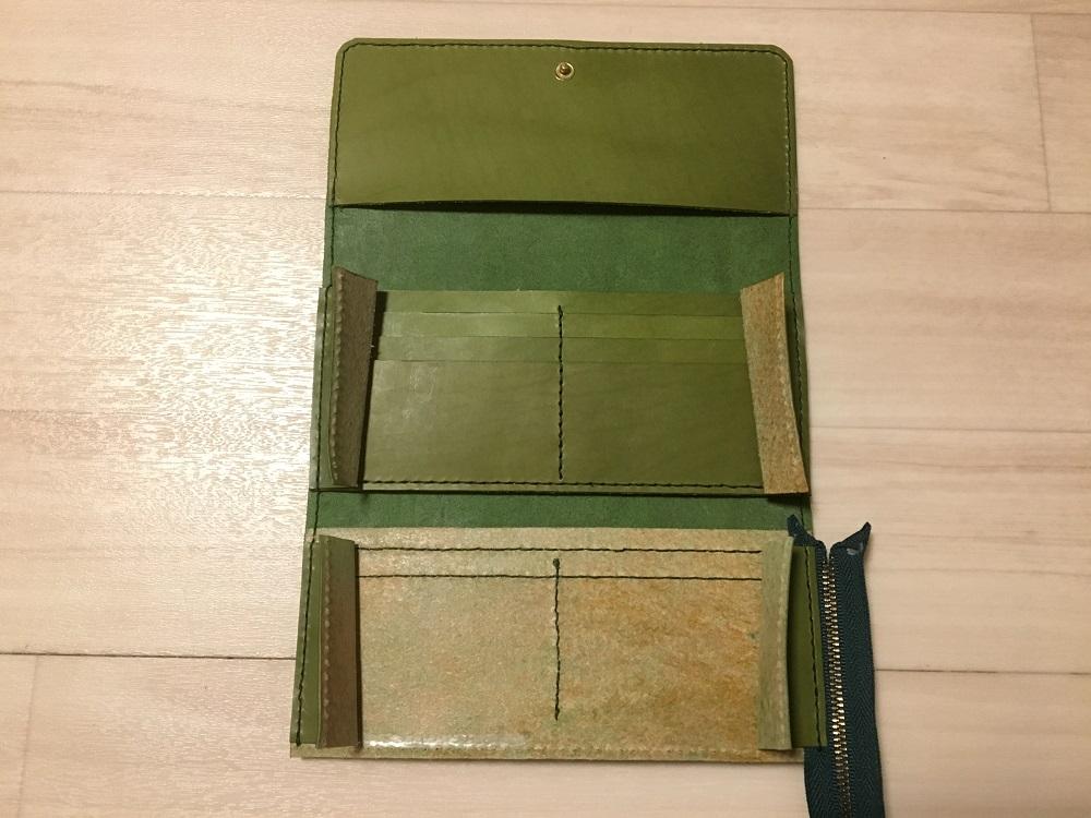 緑本ヌメ革の長財布58