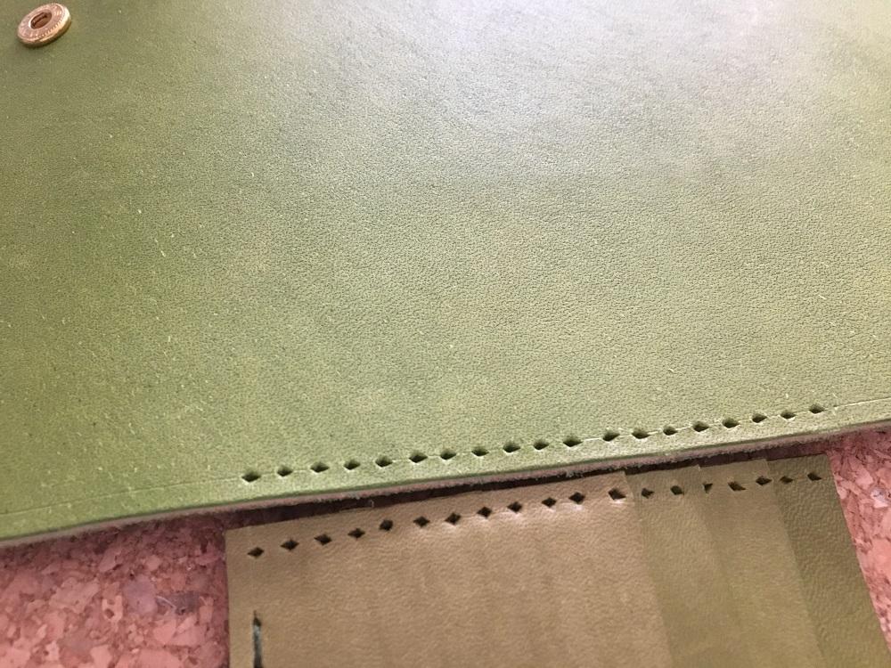 緑本ヌメ革の長財布38