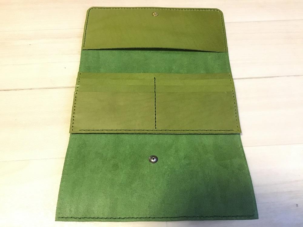 緑本ヌメ革の長財布49