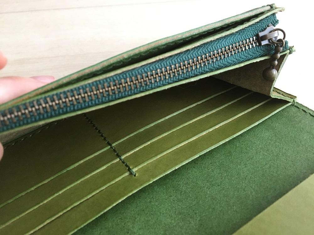 緑本ヌメ革の長財布80