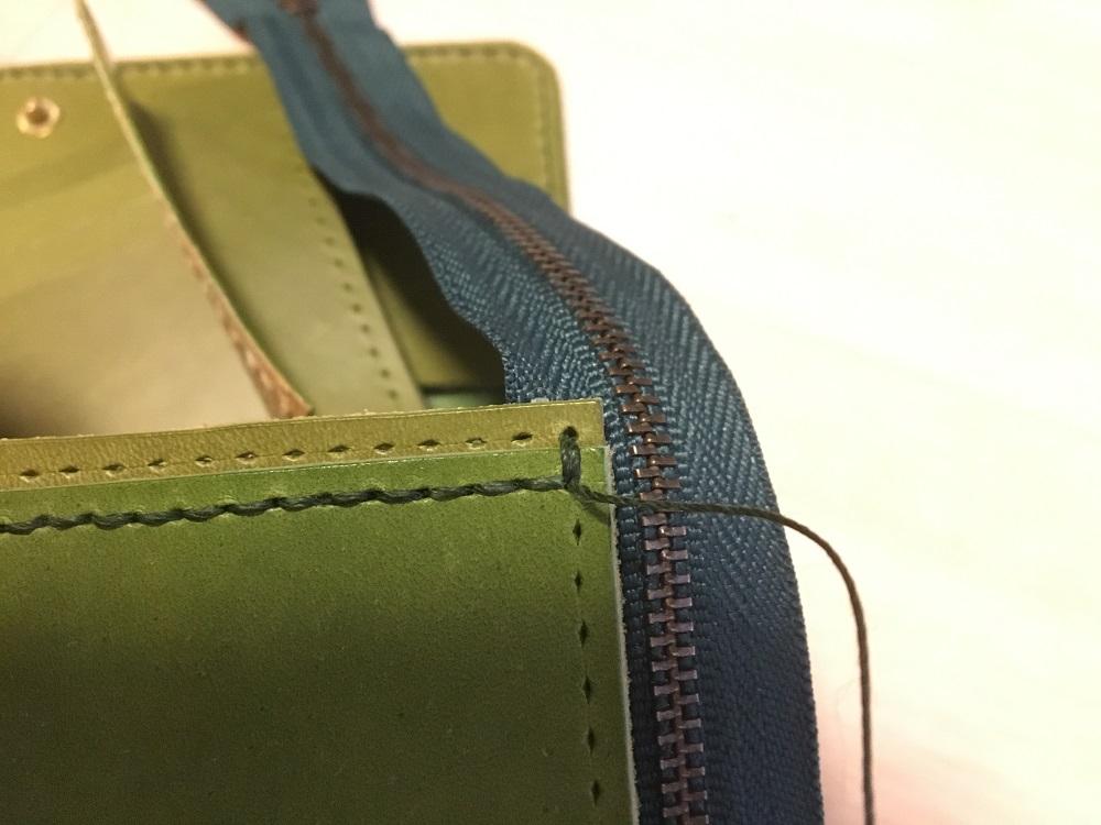 緑本ヌメ革の長財布55