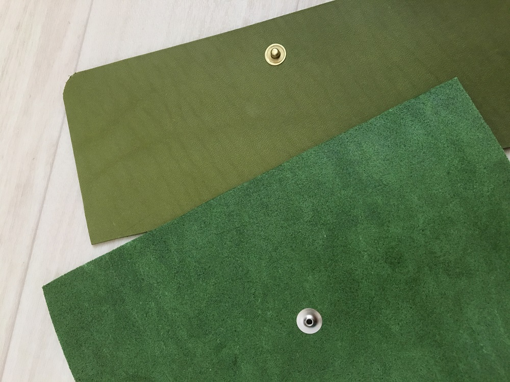 緑本ヌメ革の長財布3