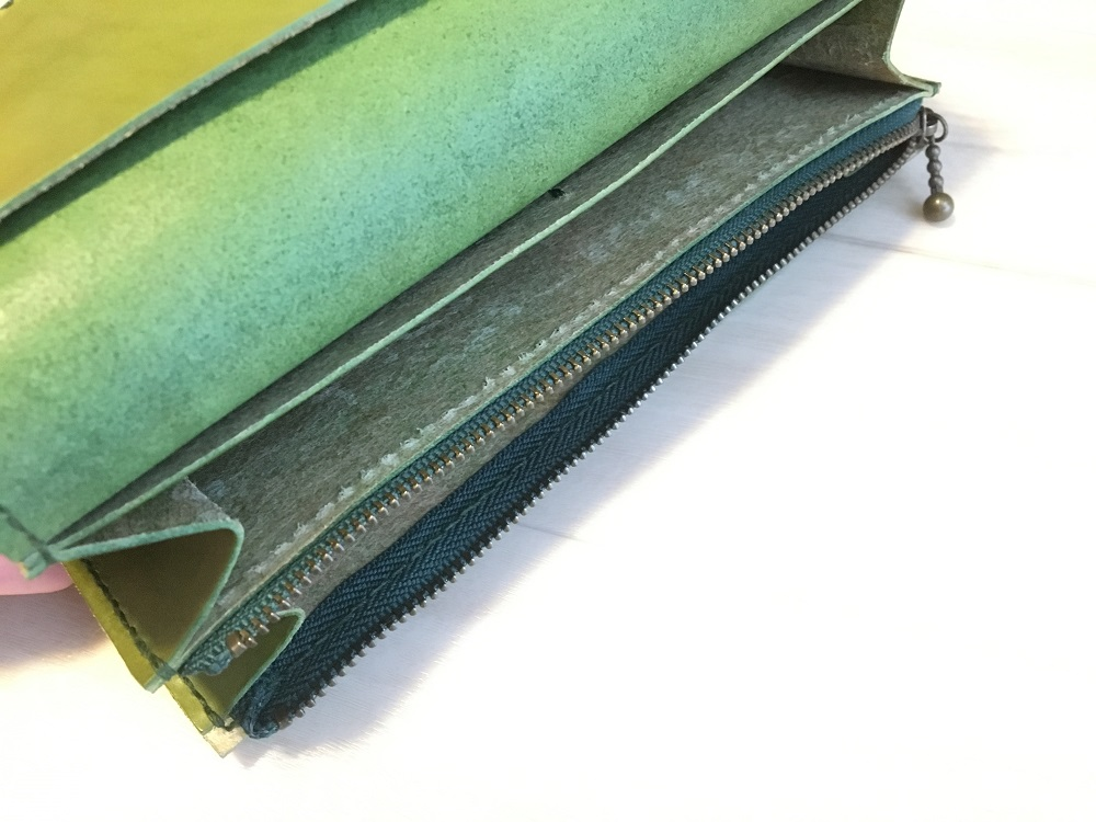 緑本ヌメ革の長財布71