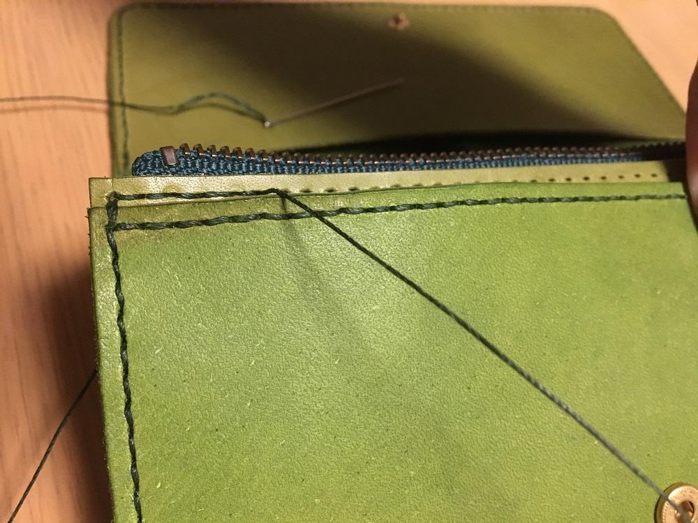 緑本ヌメ革の長財布62