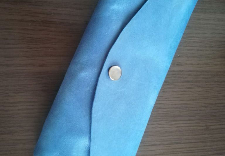 本ヌメ革青のペンケース レザークラフト作品 (2)