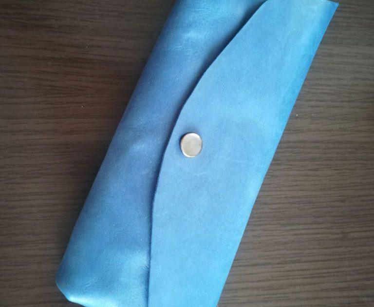 本ヌメ革青のペンケース|レザークラフト作品 (2)