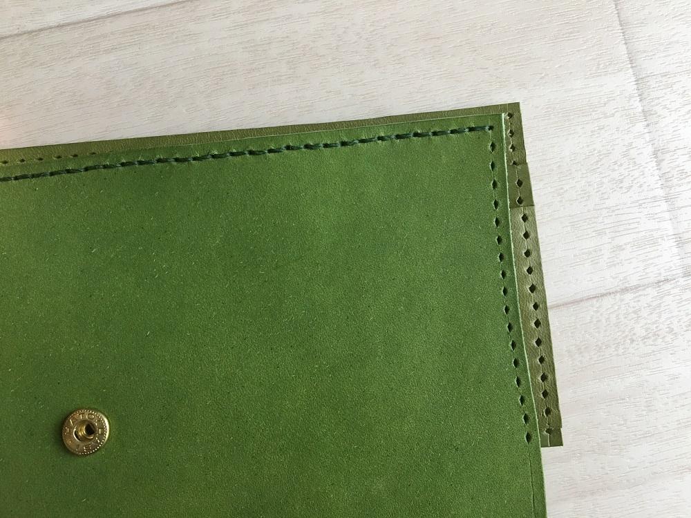 緑本ヌメ革の長財布41