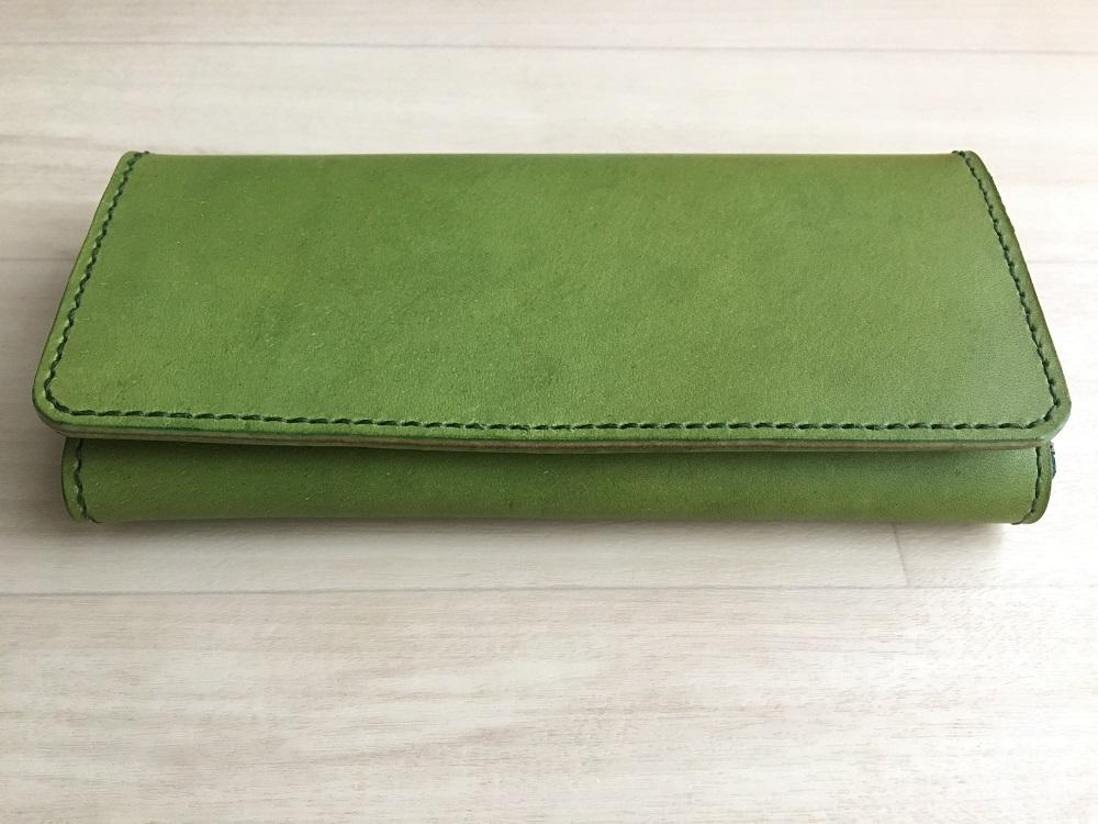 緑本ヌメ革の長財布75