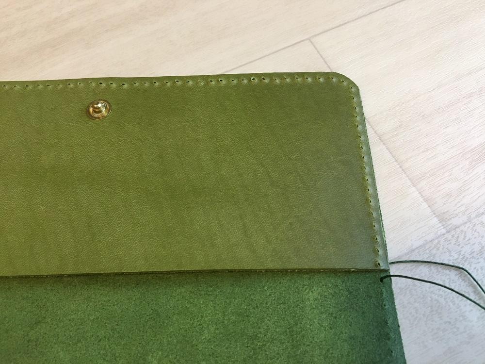 緑本ヌメ革の長財布46