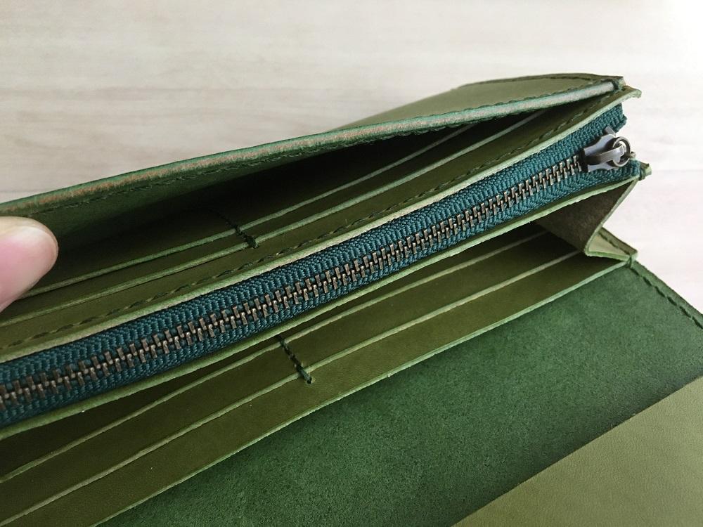 緑本ヌメ革の長財布79