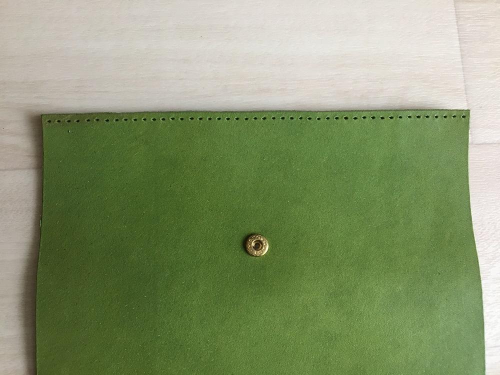 緑本ヌメ革の長財布35