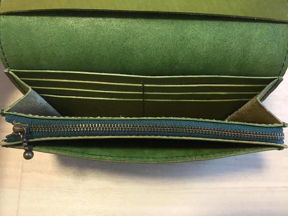 緑本ヌメ革の長財布73