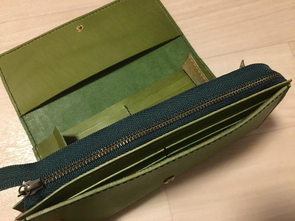 緑本ヌメ革の長財布60