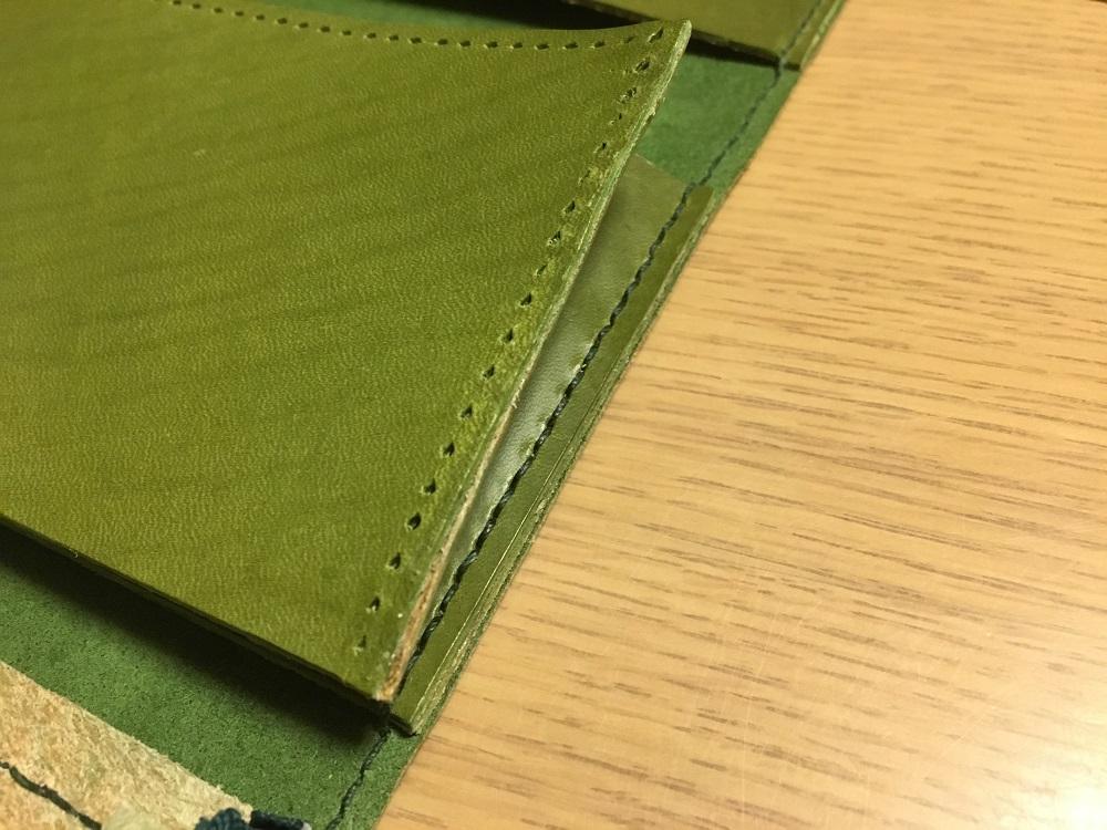 緑本ヌメ革の長財布65