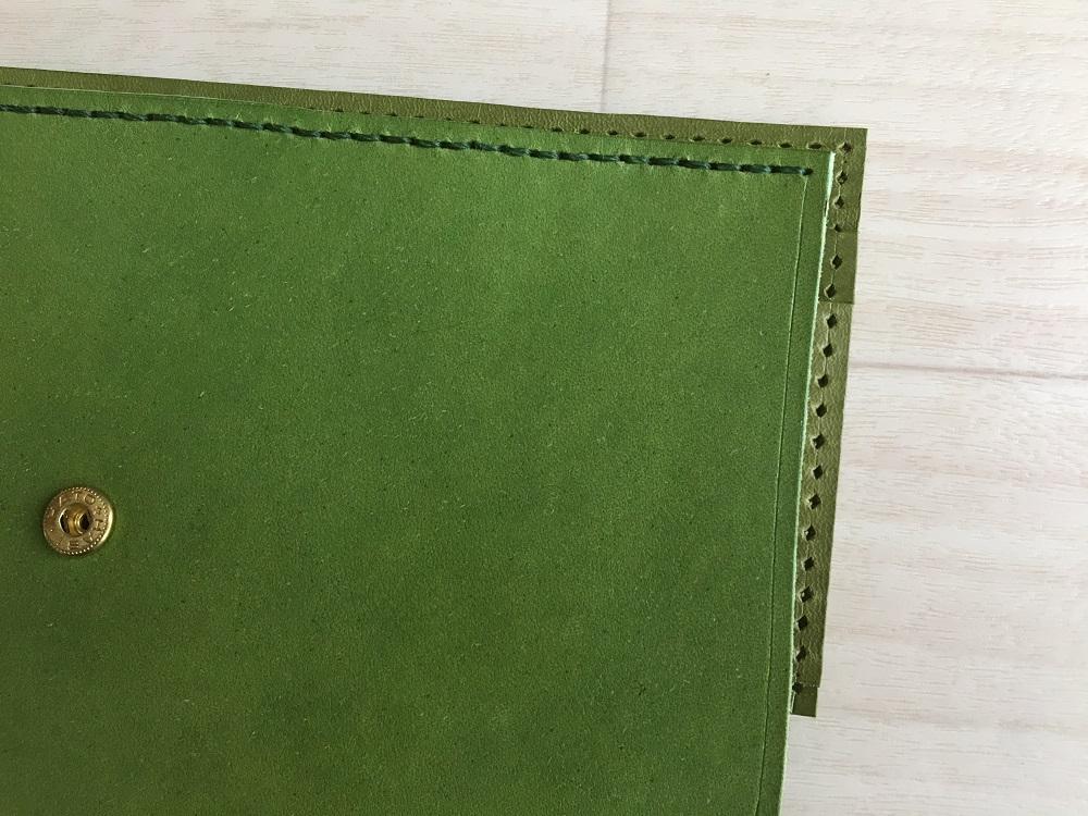 緑本ヌメ革の長財布40