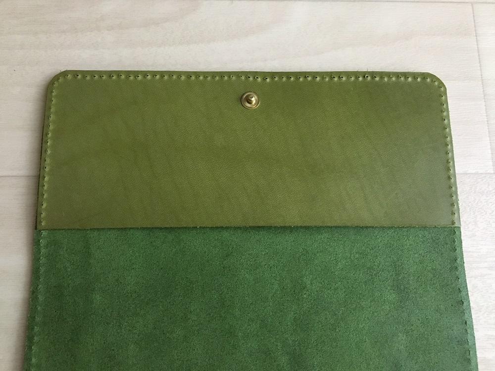 緑本ヌメ革の長財布45