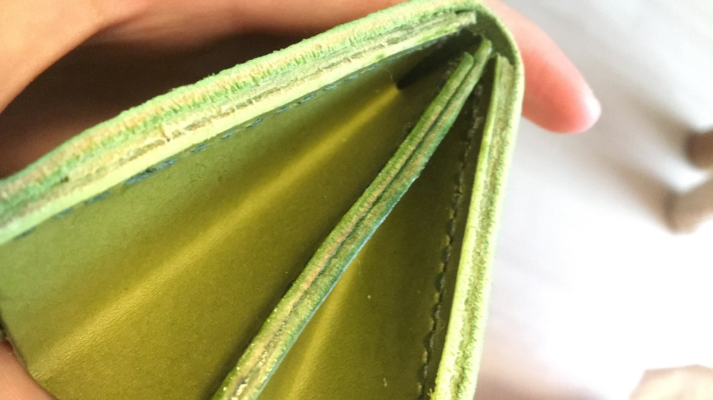 緑本ヌメ革の長財布74