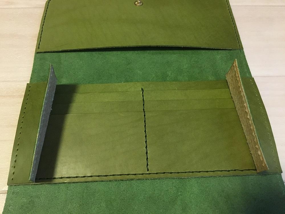 緑本ヌメ革の長財布50