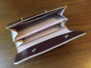 三つ折りの長財布|レザークラフト作品紹介