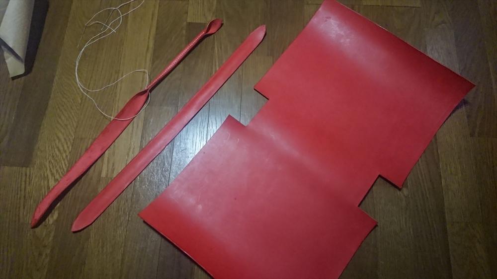 革のトートバッグ赤_レザークラフト作品 (3)
