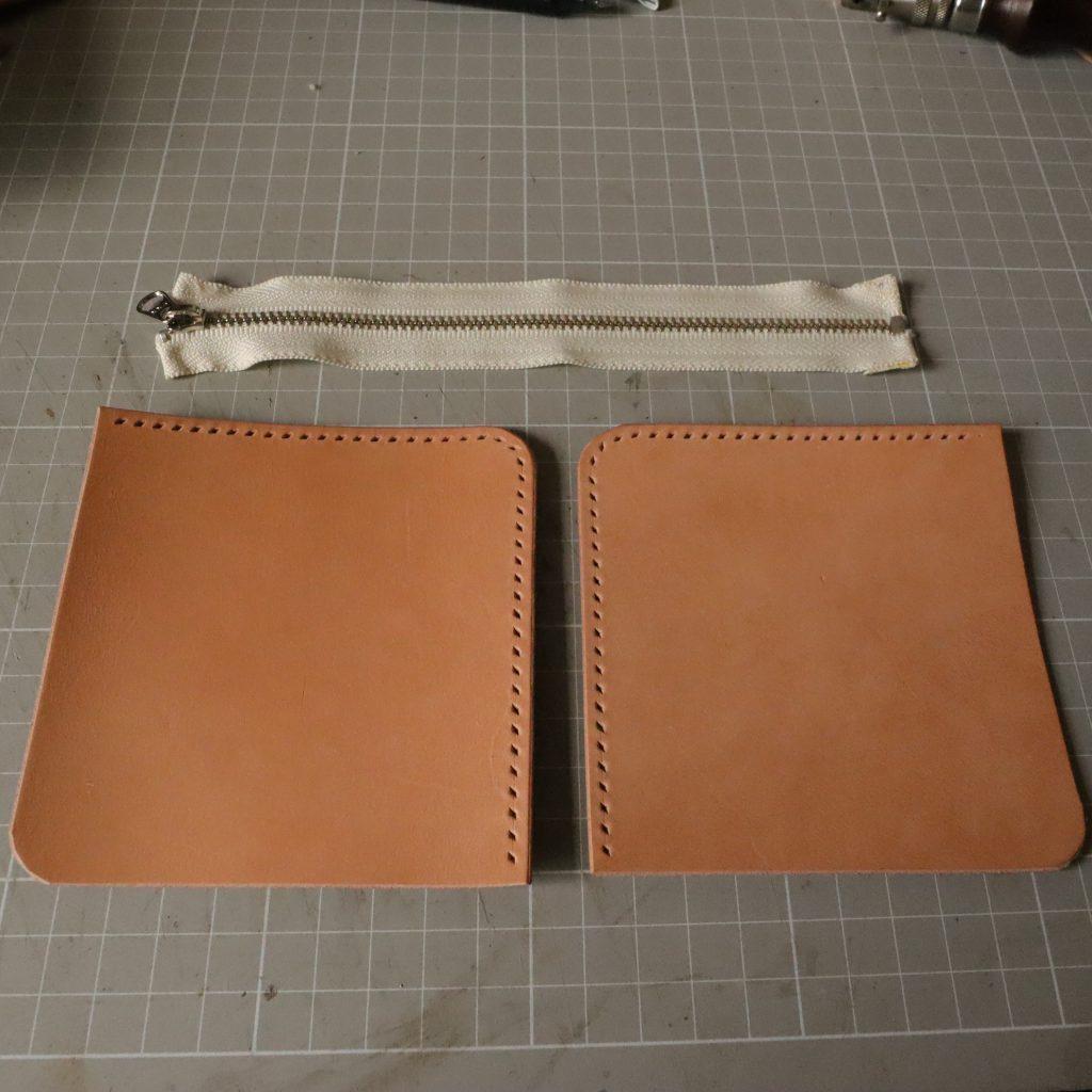 ファスナーの縫い付け|L字ファスナーの小型財布|レザークラフト作品紹介