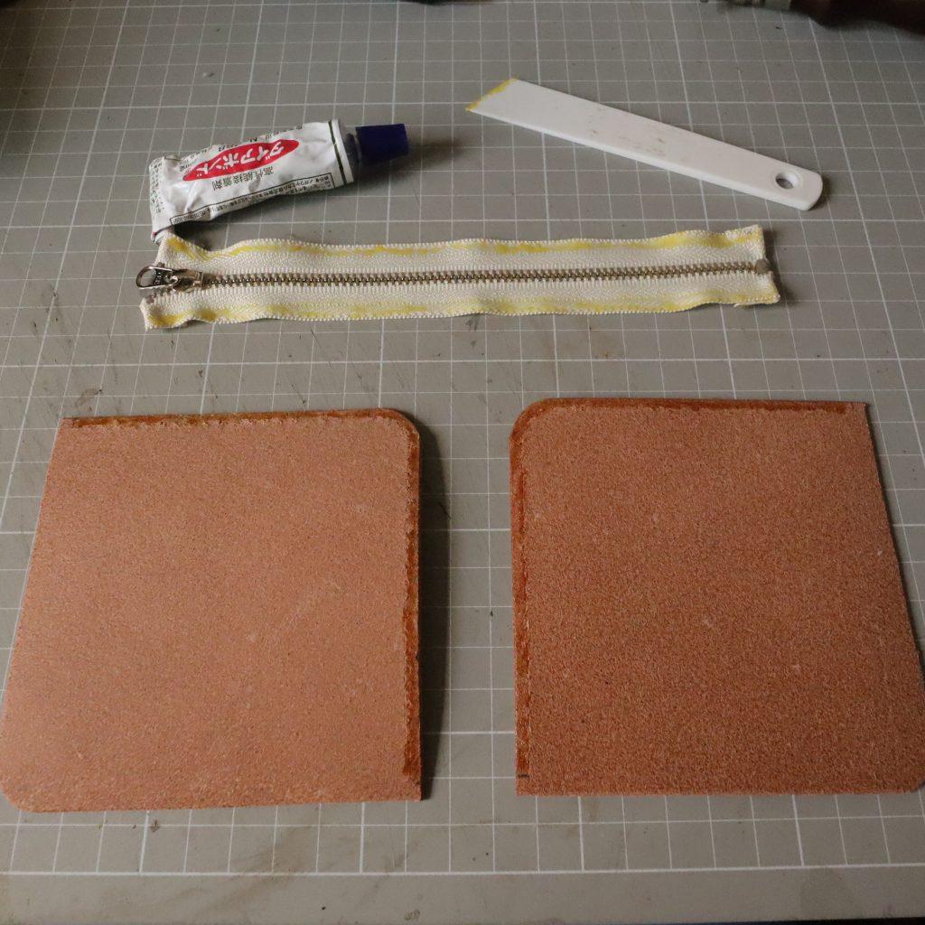 ファスナーの縫い付け002|L字ファスナーの小型財布|レザークラフト作品紹介