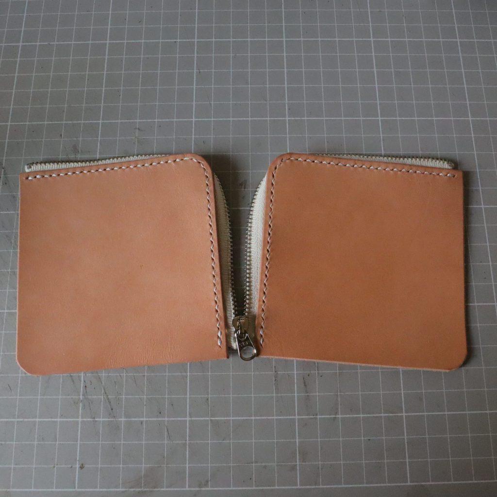 ファスナーの縫い付け005|L字ファスナーの小型財布|レザークラフト作品紹介