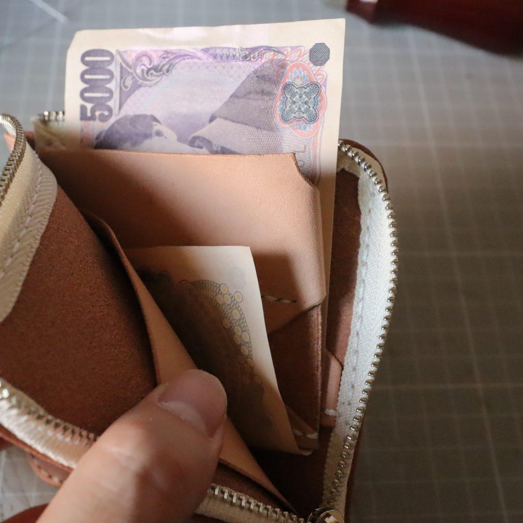 L字ファスナーの小型財布|レザークラフト作品紹介007