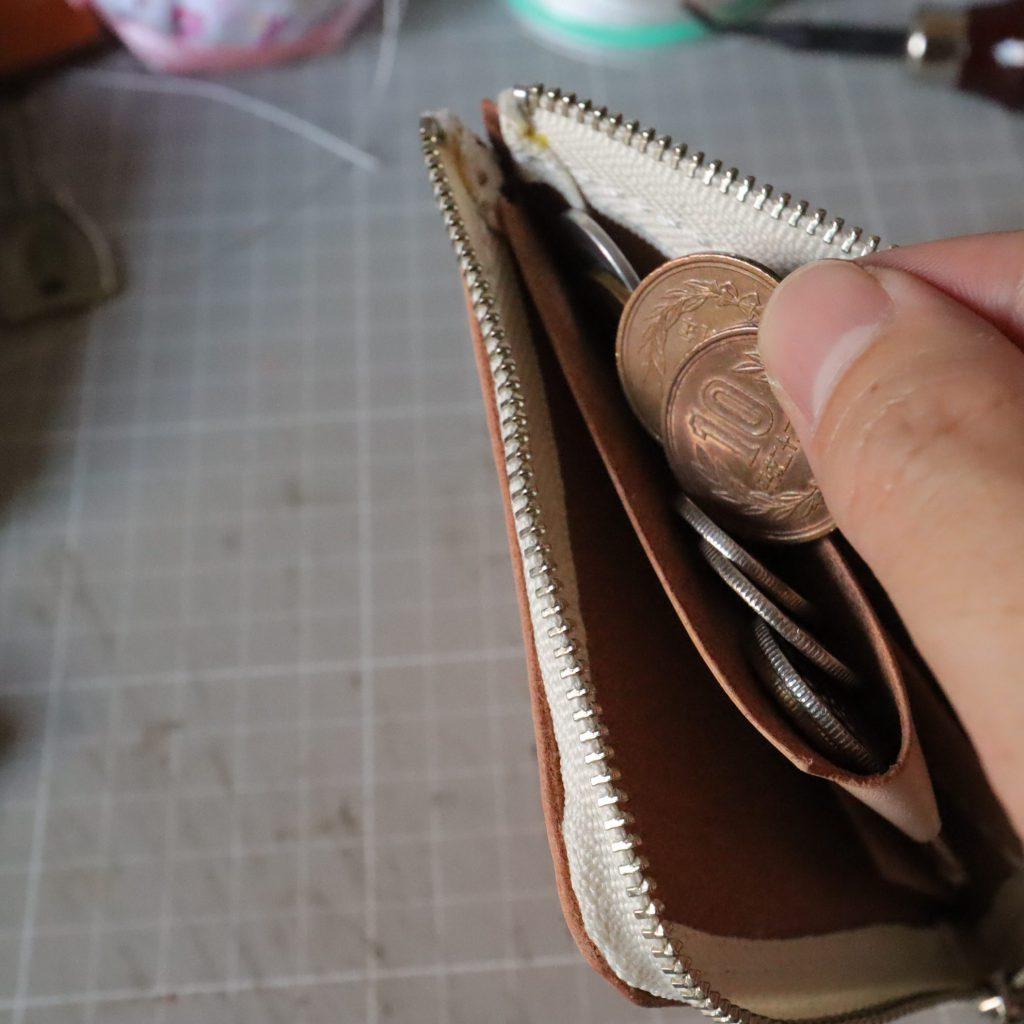 L字ファスナーの小型財布|レザークラフト作品紹介009