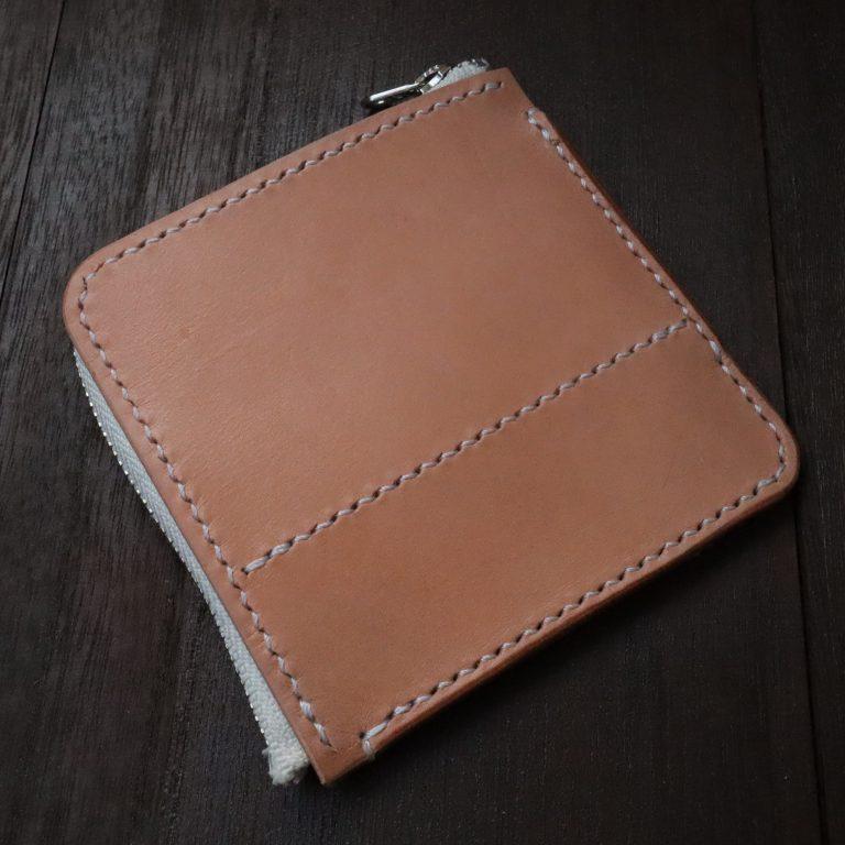 L字ファスナーの小型財布|レザークラフト作品紹介