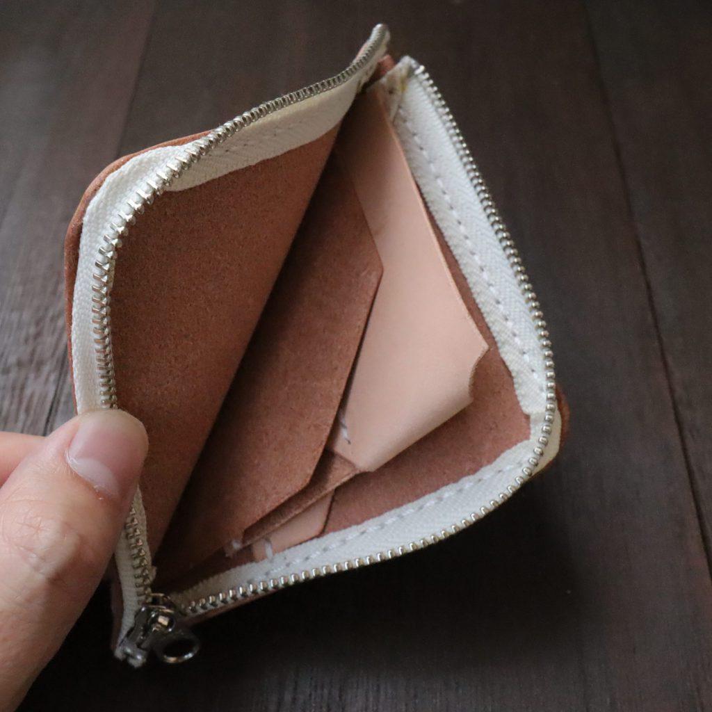 L字ファスナーの小型財布|レザークラフト作品紹介011